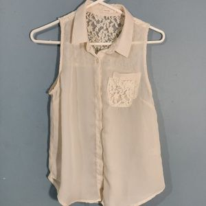 Cream Poetry Sleeveless Lace Polyester Blouse